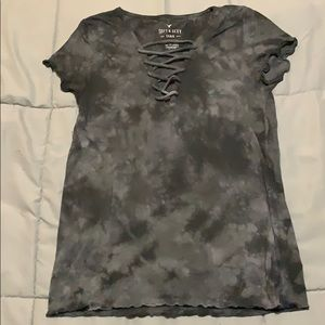 Tie Dye Lace Up SS Shirt